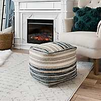 Blue and Natural Jute Striped Pouf