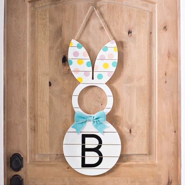 Polka Dot Monogram B Bunny Plaque with Bowtie