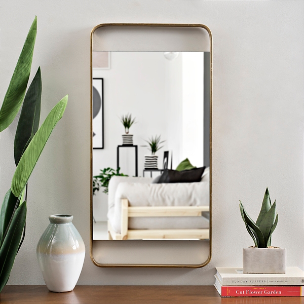 Gold Metal Open Rectangle Wall Mirror