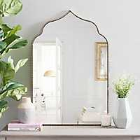 Black Bead Wood Arch Wall Mirror