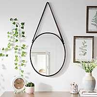 Round Metal and Leather Hanging Mirror