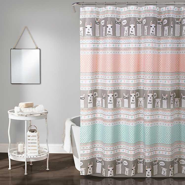 Pink And Turquoise Stripe Llama Shower Curtain