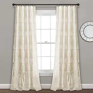 Ivory Norah Ruffle Curtain Panel Set