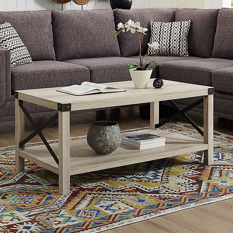 Superbe White Industrial X Frame Coffee Table ...