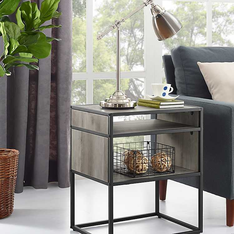 Gray And Metal Mid Century Modern Accent Table