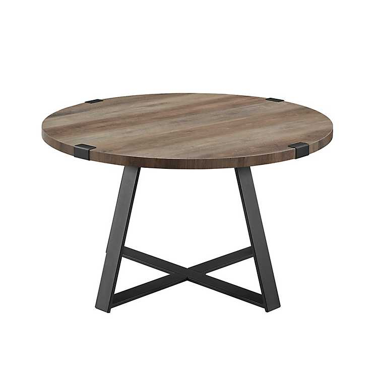 Gray Urban Rustic Round Coffee Table Kirklands