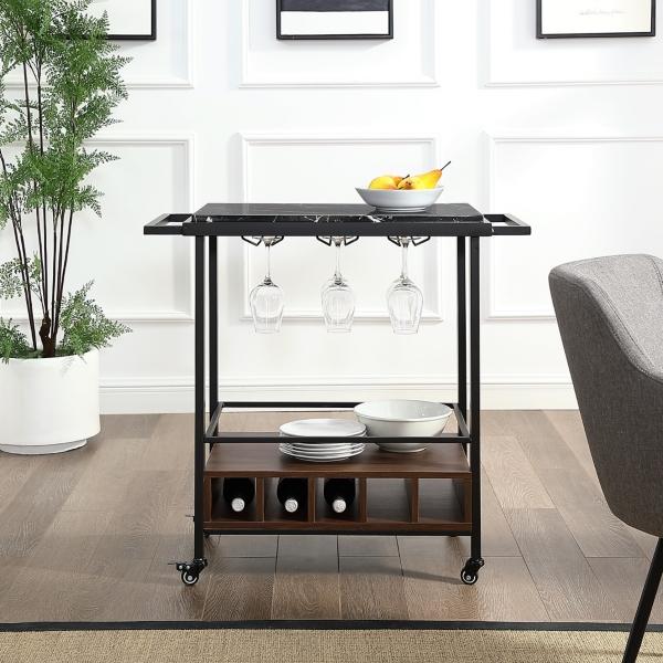Black Marble Walnut Industrial Bar Cart