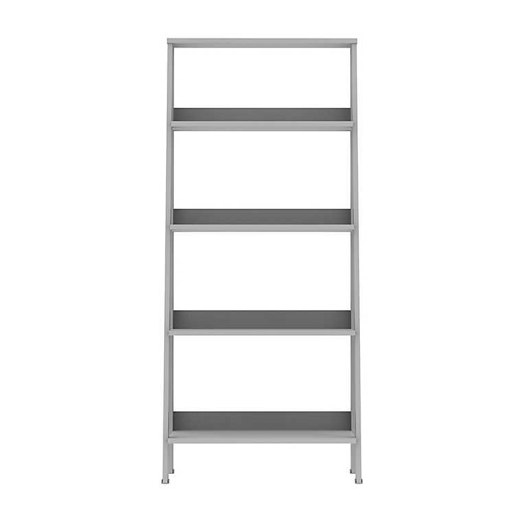 Gray 4 Tier Ladder Bookshelf