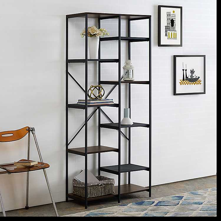Urban Multi Level Mesh Dark Walnut Wood Bookshelf