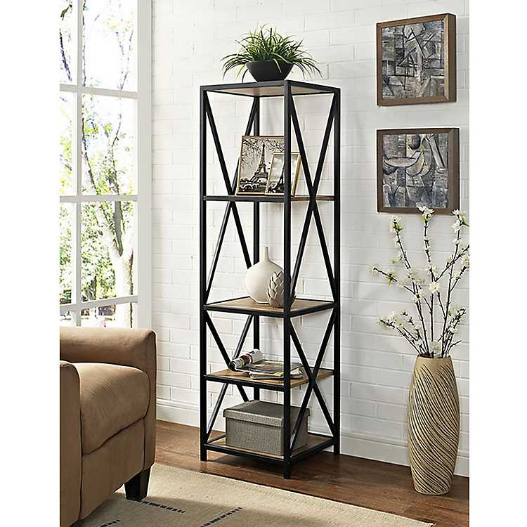 Tall X Frame Metal And Barnwood Bookshelf