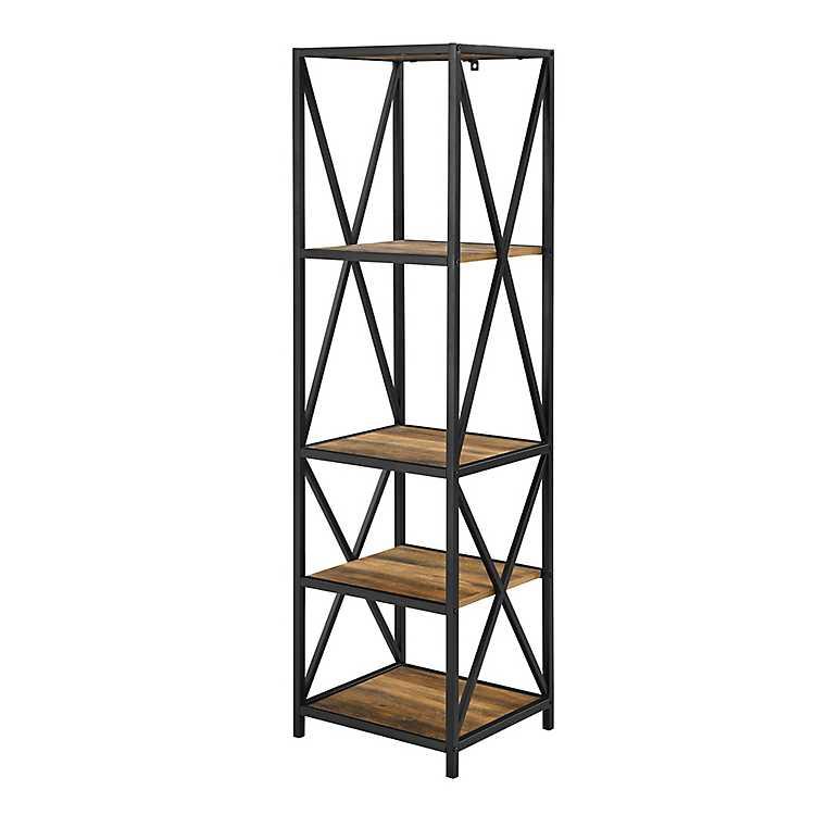 Tall X Frame Metal And Oak Wood Bookshelf