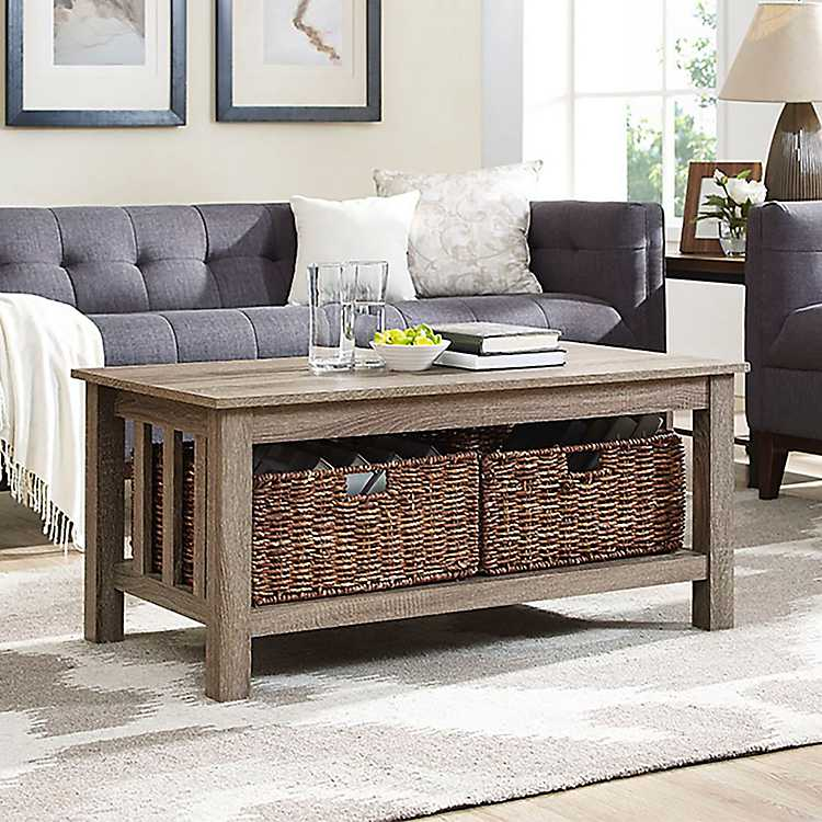 Driftwood Traditional Coffee Table With Baskets
