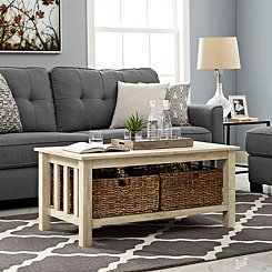 White Oak Traditional Wooden Basket Coffee Table