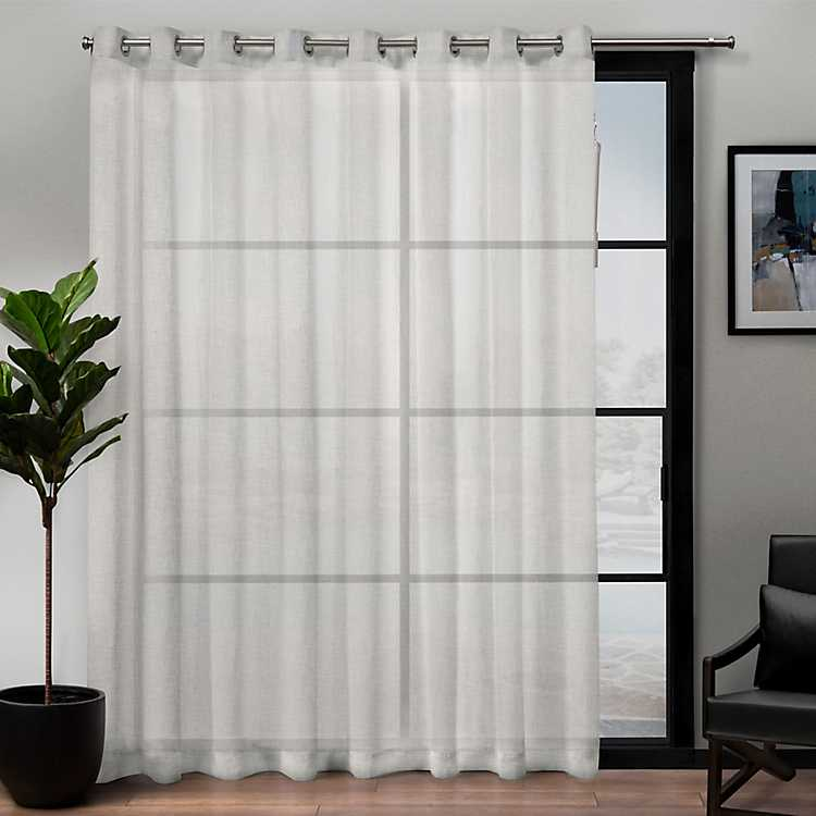 Snowflake Sheer Patio Curtain Panel, 84 In.