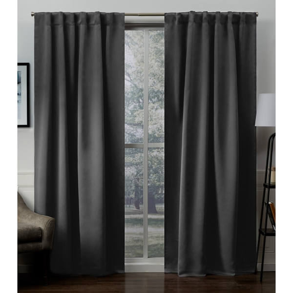 Charcoal Blackout Sateen Curtain Panel Set