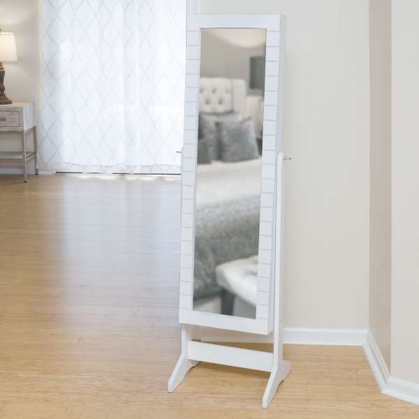 White Cheval Shiplap Jewelry Armoire Mirror