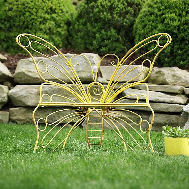 Yellow Metal Butterfly Garden Chair Kirklands