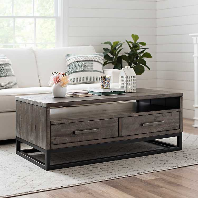 Weathered Gray Coffee Table With Modern