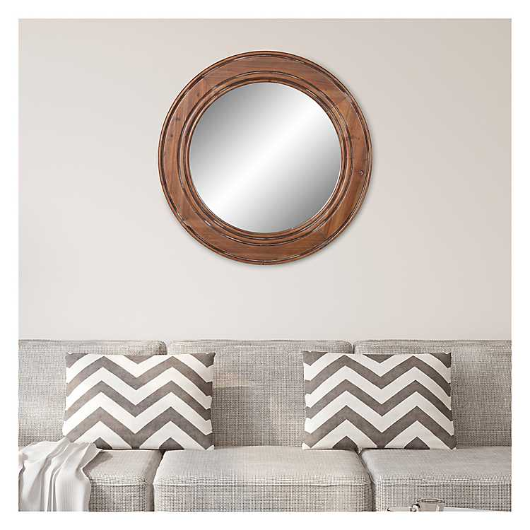 Round Reclaimed Wood Wall Mirror 31 5