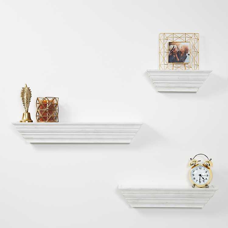 Traditional White Floating Shelf Set