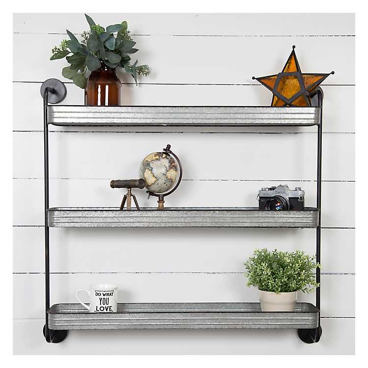 Rustic Three Tiered Galvanized Metal Wall Shelf