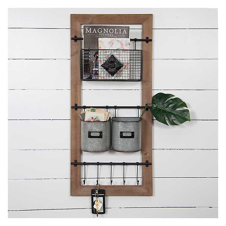 Basket And Hooks Wooden Wall Organizer