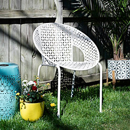 Retro Pierced White Round Outdoor Chair
