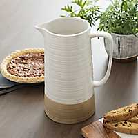 White and Tan Two-Tone Exposed Pitcher