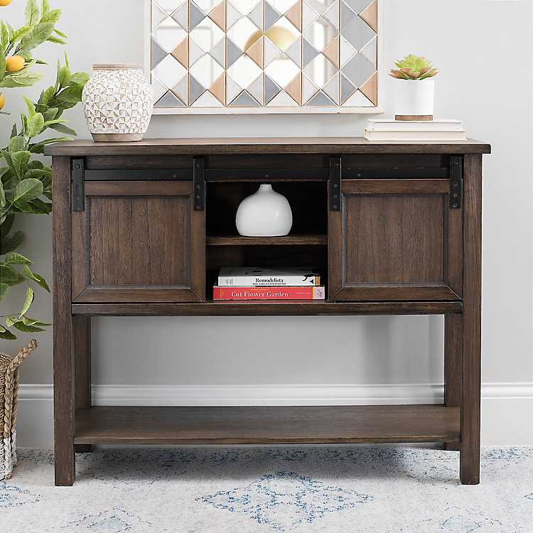 Brown Sliding Door Farmhouse Console