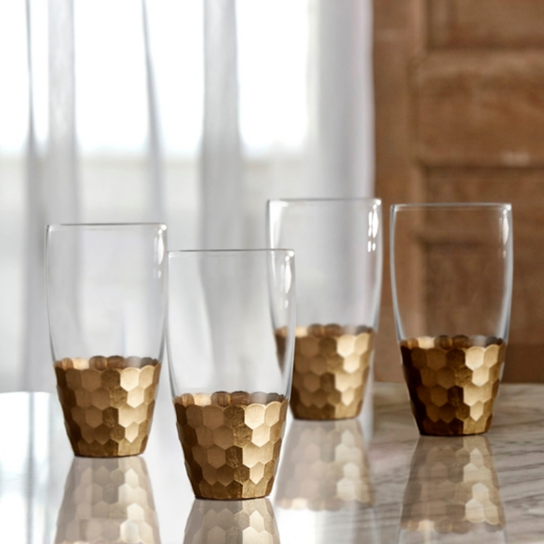 Set of 4 Gold Daphne High Ball Tumblers