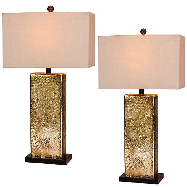 Hammered Bronze Mercury Table Lamps, ...