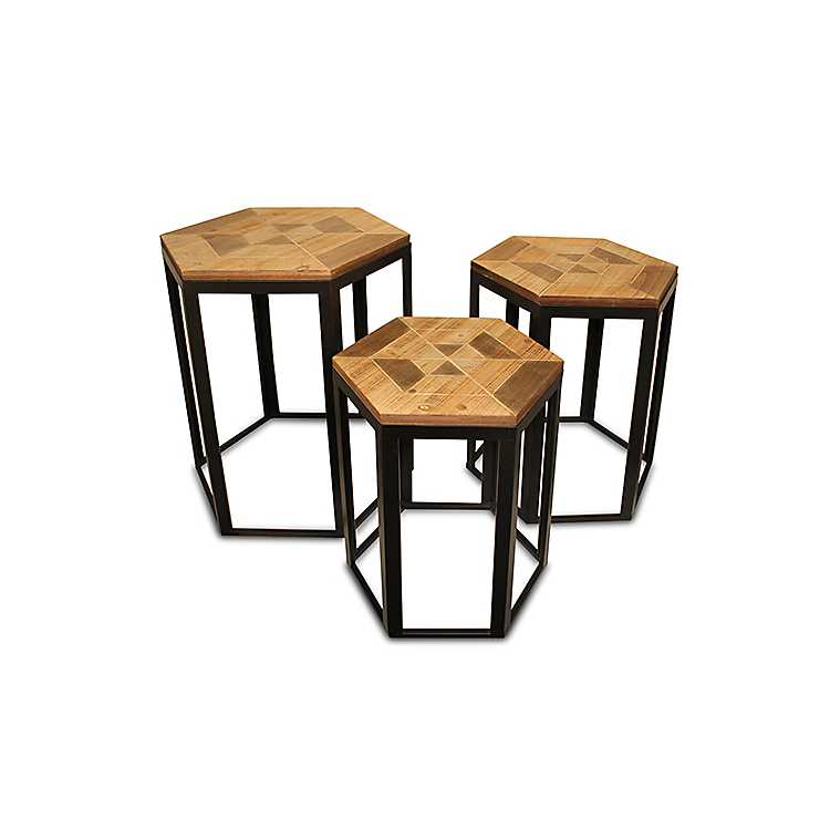 Fine Wood And Metal Hexagon Nesting Tables Set Of 3 Pabps2019 Chair Design Images Pabps2019Com