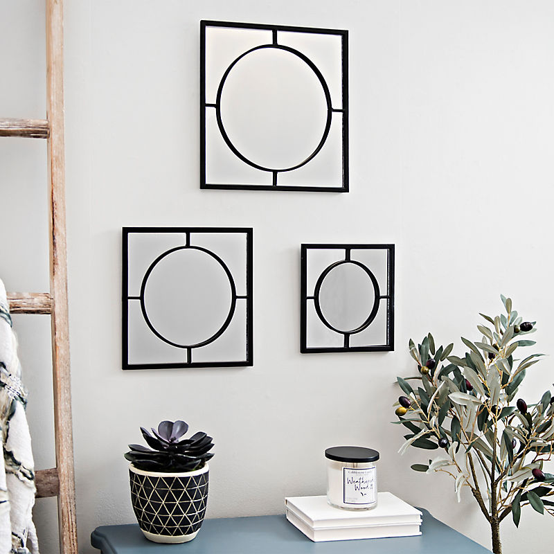 Set of 3 Black Square Pane Mirrors