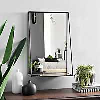 Black Metal Shelf Wall Mirror