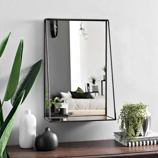Black Metal Shelf Wall Mirror