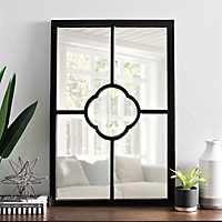 Black Wood Clover Pane Wall Mirror