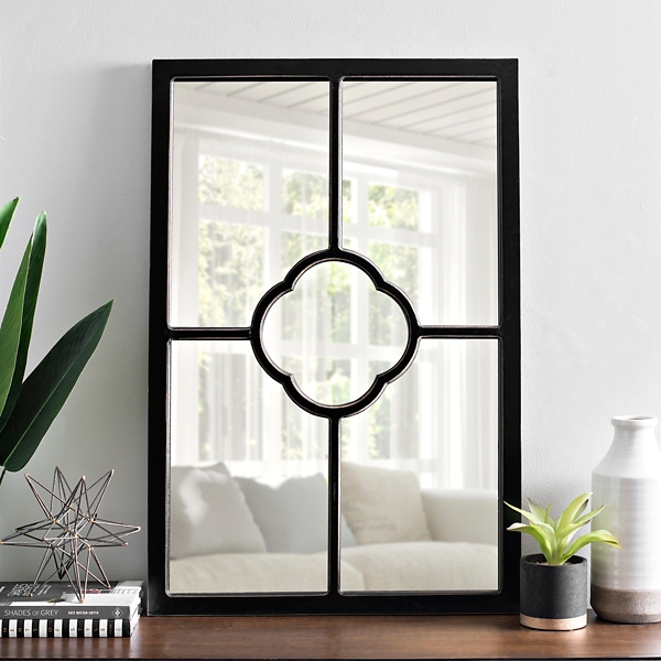 Black Wood Clover Pane Wall Mirror
