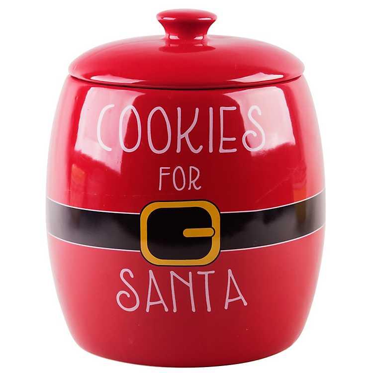 Red Santa Suit Christmas Cookie Jar Kirklands