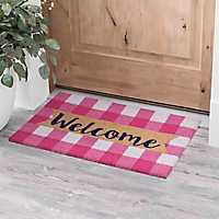 Pink and White Buffalo Check Welcome Doormat