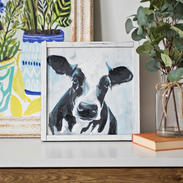 Black and White Cow Framed Art Print