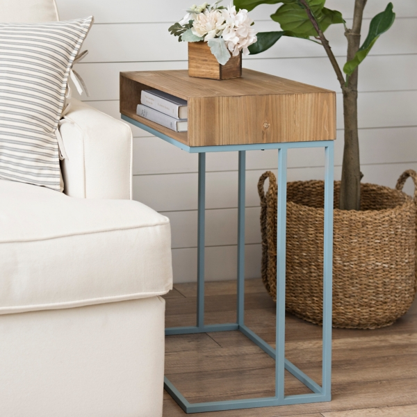 Blue Storage Top Wood and Metal C-Table