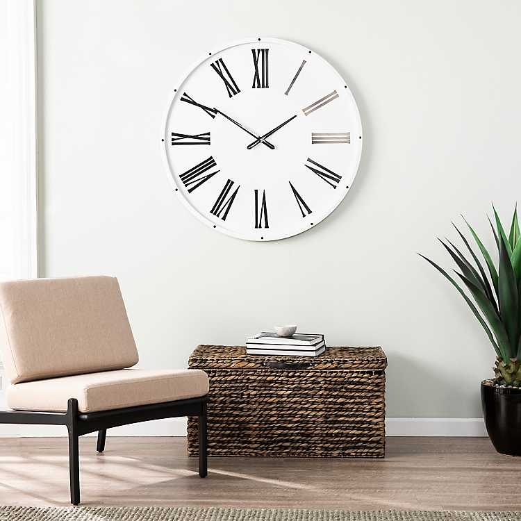 White And Black Pemley Oversized Wall Clock Kirklands