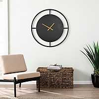 Black Elister Brushed Bronze Wall Clock