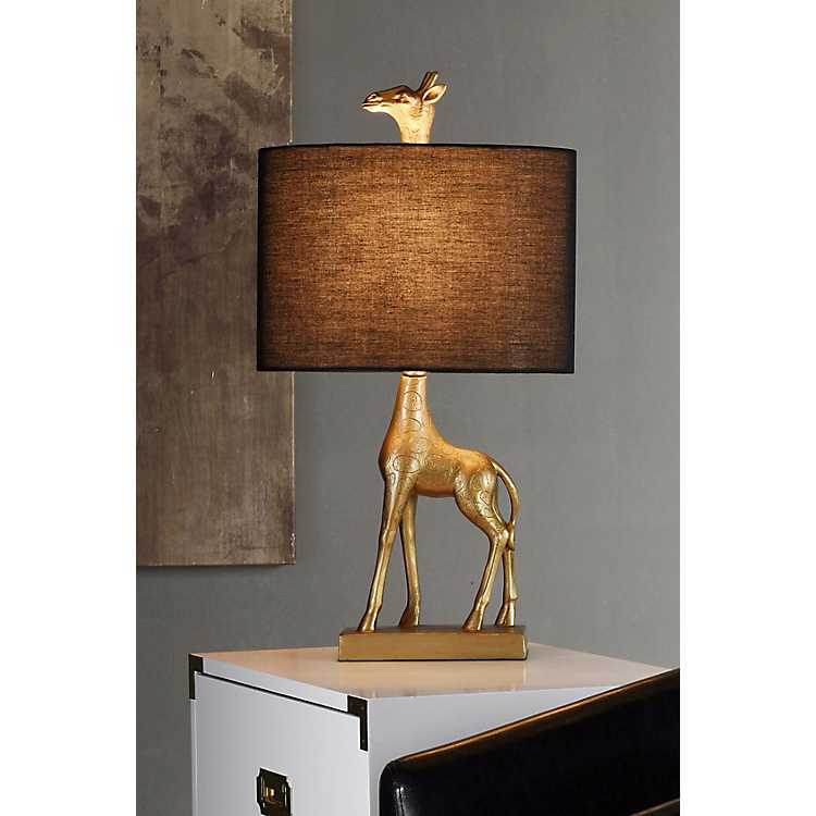 Navy Blue And Gold Giraffe Table Lamp