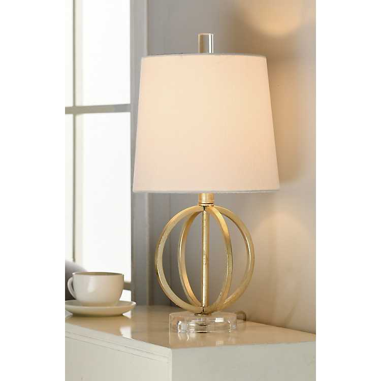 Antique Gold Table Lamp With Steel Base
