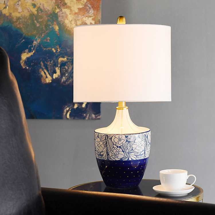Blue And Gold Floral Hand Painted Table Lamp ...