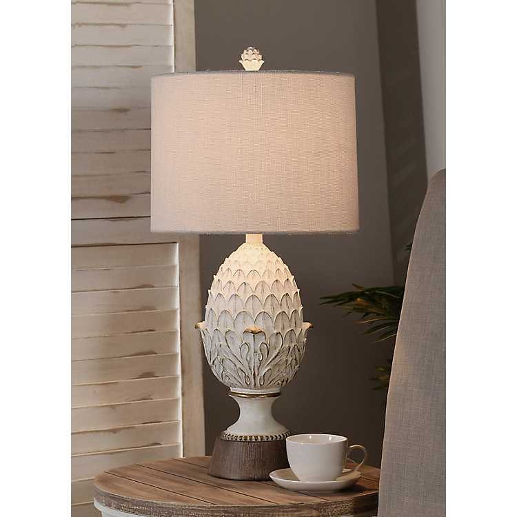 Product Details Off White Artichoke Table Lamp With Wood Base