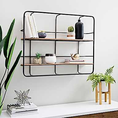 Wood Double Wall Shelves on Metal Back Grid