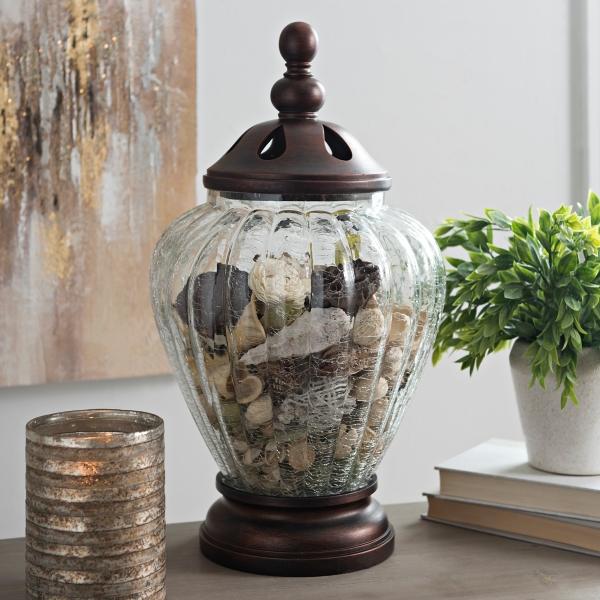 Bronze Crackle Glass Potpourri Jar