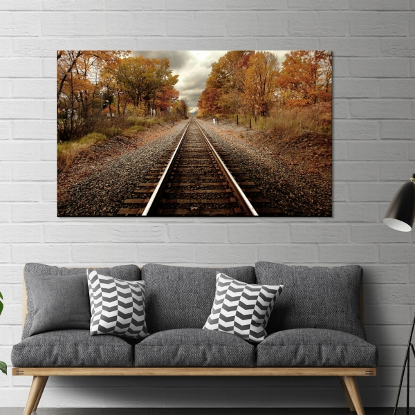 Autumn Rails Tempered Glass Art Print